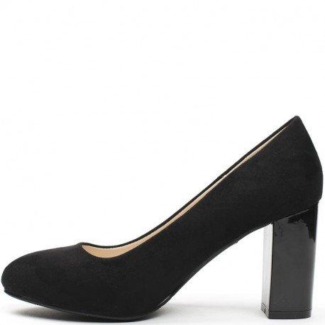 Ideal Shoes - Escarpins bi-matière à talon carré Moisa Noir