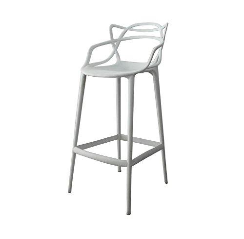 Barhocker, Bar Kreative Kunststoff Verdickung High hocker Drehen Cafe Zähler Hohe zurück Woody Kreative Hohe Rezeption Küchenstuhl Europäischen Höhe 65 cm LJJOZ (Color : White) -