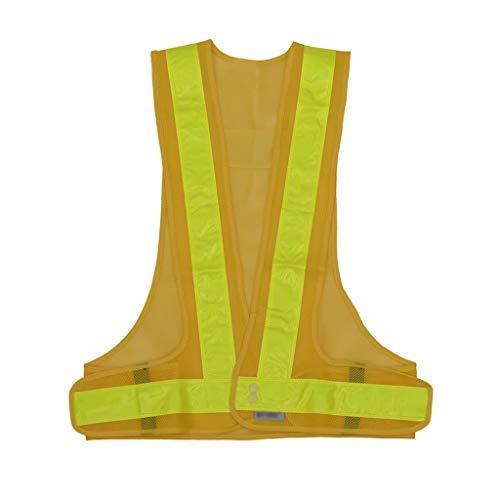 V-Typ Sicherheitswesten Reiten reflektierende Weste Sicherheit reflektierende Kleidung Straßenbau Schutzwesten (Color : Yellow, Größe : 60cm)