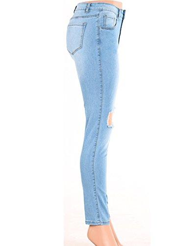 Skinny Jeans Donna Sottile Stile Fidanzato Buco Denim Fori Pantaloni Come Immagine