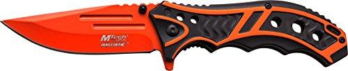 MTech USA Taschenmesser MT-A907 Serie, Messer DESIGNER BLACK/ ORANGE eloxierter ALU Griff, scharfes Jagdmesser, Outdoormesser 8,89 cm ROSTFREI ORANGE Klinge, Klappmesser für  Angeln/ Jagd -