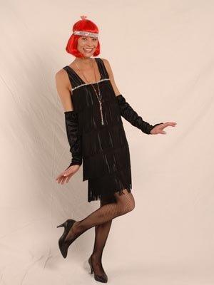 Körner Festartikel Charleston 20er-Jahre Kostüm für Damen schwarz-Silber S / M
