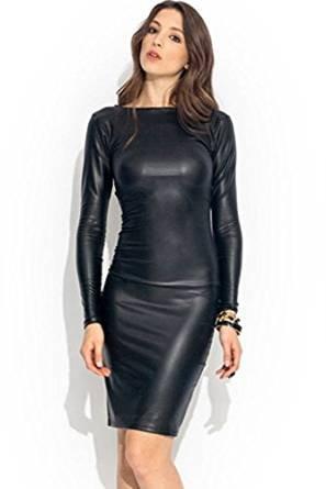 New Women's Ladies Plus Size Celeb Style Wet Look Faux Leather Look Long Sleeve Midi Dress. UK 8-22