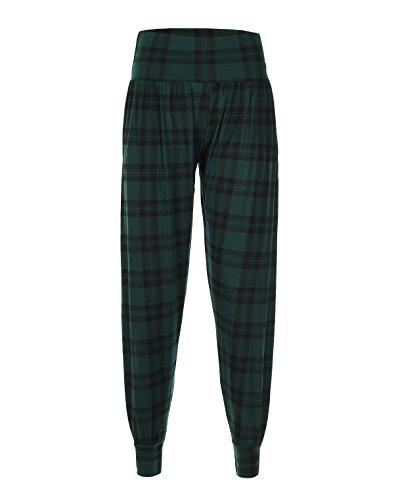 Damen Gedruckt Ali Baba Harem Baggy Full Länge Hose Gr. Large, Green-Tartan (Geparden-print-leggings)
