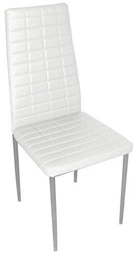 Chaise longue de salon en PU coloris blanc, 500 x 415 x 950 mm -PEGANE-
