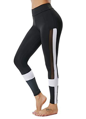 INSTINNCT Damen Yoga Lange Leggings Slim Fit Fitnesshose Sporthosen Schwarz(gestreift) L -