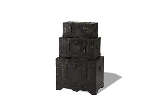 Furnhouse Trunk 3er-Set, Schwarz Holz bemalt mit dekorativer Hardware und Lederriemen, L56xB29xH27 / L66xB37xH37 / L76xB48xH59 cm