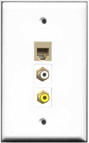 RiteAV-1Port RCA weiß und 1Port RCA, gelb und 1Port Telefon RJ11RJ12beige Wall Plate Telefon Wall Plate