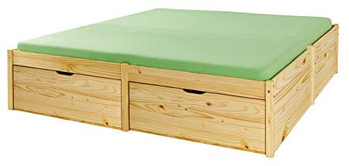 Holzbett Massivholzbett 140 x 200cm Seniorenbett Stauraumbett extra hoch Jugendbett Funktionsbett Bett Echtholz Tagesbett Höhe 48cm Rückenschonend massiv inkl. Lattenrost