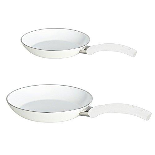 BALLARINI Keramik Pfannen Set 2-teilig 20 cm + 26 cm Alu Pfanne Bratpfanne weiß