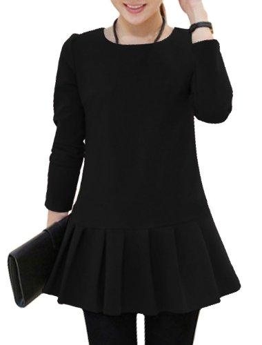 Femmes Doux Col Rond Caché Fermeture Éclair Latérale Mini Robe Noir