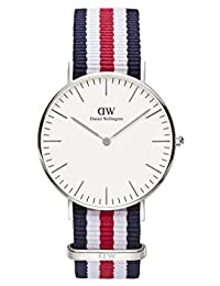 Daniel Wellington - 0606DW - Canterbury - Montre Mixte - Quartz Analogique - Cadran Argent - Bracelet Nylon Multicolore