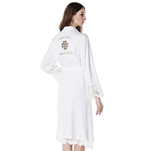 Weißer Baumwolle Langarm-pyjama/Bademantel A