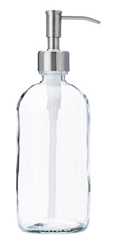 Jarmazing Products Clear Glass Jar Soap And Lotion Dispenser With Stainless Steel Pump - 16 Oz