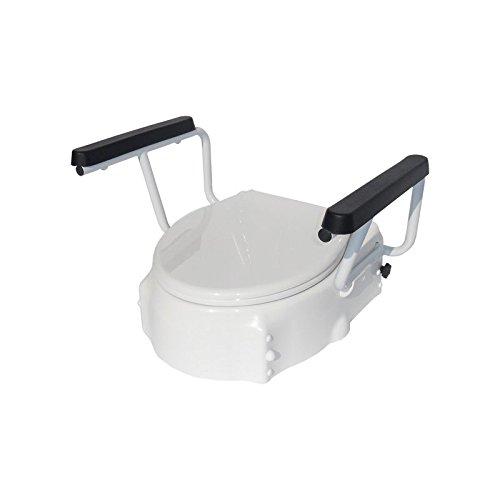 Toilettensitzerhöhung Höhenverstellbar mit Armlehnen und Deckel, 8cm, 12cm, 16cm