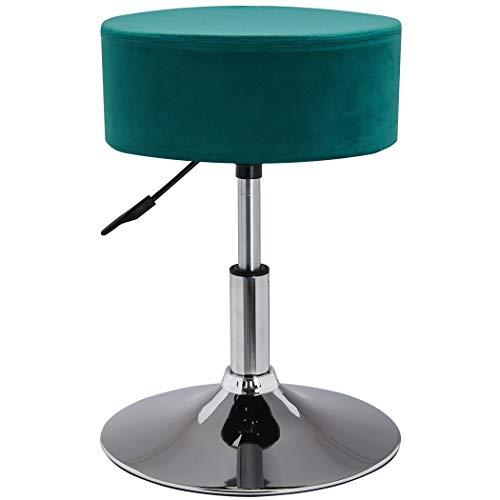 Duhome Drehhocker Sitzhocker Petrol Blau Grün Hocker RUND höhenverstellbar drehbar aus Stoff Samt Farbauswahl 428S