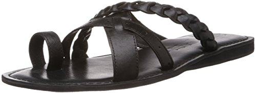 Buckaroo Men's Enzo Black Leather Hawaii Thong Sandals - 6 UK  available at amazon for Rs.798