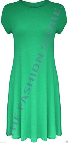 Mesdames Midi à capuchon robe Swing à manches courtes A-Line Patineuse évasée Thé Uni Vert jade