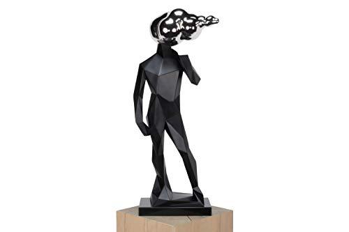 Kunstloft Extravagante Escultura Alto' 18x18x59cm | Moderna Figura de Piedra Artificial | Hombre Plateado Decoración Negro | Estatua única