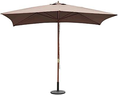Sombrilla Parasol 2x3m y Altura 2,45m Jardin Terraza Poliester 180g/m2 y Madera Color Chocolate