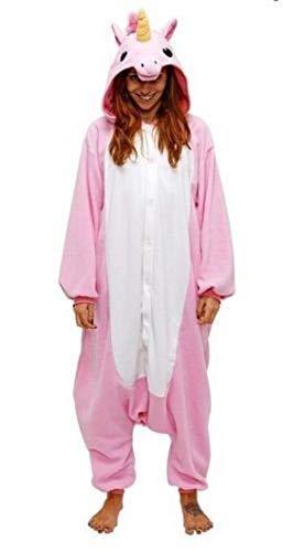 Anebalrui Damen Herren Jumpsuit Overall Fasching Tier Einhorn Kostüm Fasching Anime Cosplay Halloween Karneval Kostüm Schlafanzug Pyjama Erwachsene (L für 166cm-175cm / 65.0