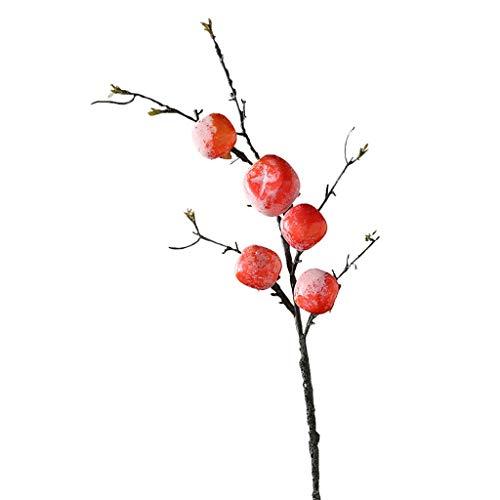 WATERMELON Autumn Harvest Persimmon-künstliche Blumen-Frucht-Stamm-Blumensimulations-Betriebshauptdekoration Wohnzimmer Dekoration - Persimmon Blume