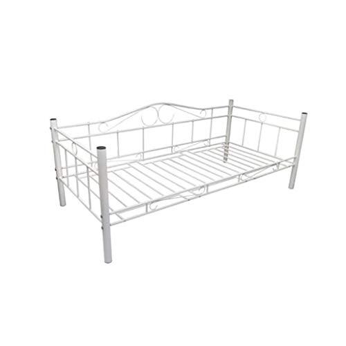 Vislone Tagesbett Metallbett Einzelbett mit Lattenrost Metall Bett Bettgestell für 200 x 90 cm Matratze Weiß