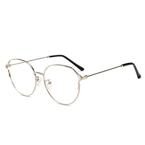 Ovesuxle Metall Retro Cat Eye Brillengestell Nicht verschreibungspflichtige Brille Männer Frauen (Color : Silver)