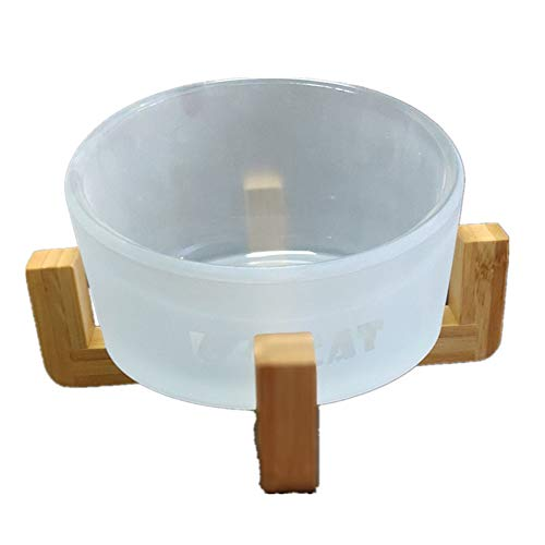 Pet Bowl Simple Glass Cat Dog Bowls Feeder Watering Supplies Small Animal Bowl Pet Wooden Rack Dog Bowl Single Bowl Pet Bowls for Dogs (Color : Clear, Size : Free Size)