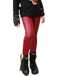 Liangzhu Faux Cuir Leggings Pantalons pour Enfants Fille Chaud Épais  Pantalons À Taille Élastique 964a2f7b45de