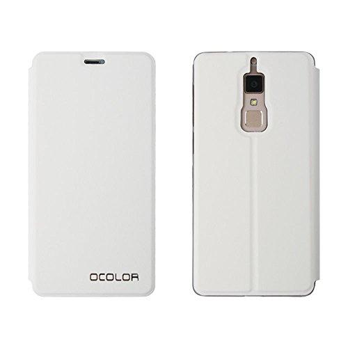 GOGODOG Elephone S3 Hülle Ultra Schlank Leder Stoßstang Voll Karosserie Schutz Brieftasche Geschäft Stil mit Stand Funktion & Auto Schlaf Aufwachen Oben (Weiß)
