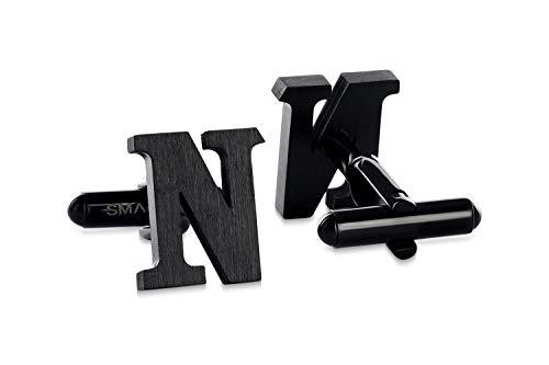 (SMARTEON® Manschettenknöpfe für Herren | Premium Buchstaben A-Z | Silber & Schwarz aus hochwertigem Edelstahl in mattem Design | Elegante Cufflinks in einem edlen Geschenk-Set (N - schwarz))