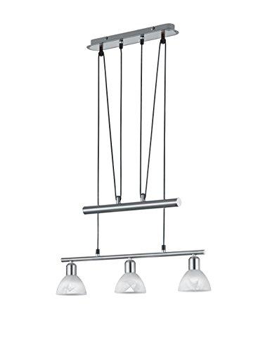 """Trio Leuchten LED-JoJo-Pendelleuchte """"Levisto"""" in Nickel matt, Glas alabasterfarbig weiß 371010307"""