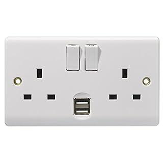 Energenie ENER029 2-Gang Dual USB Wall Socket, 3120 W, White