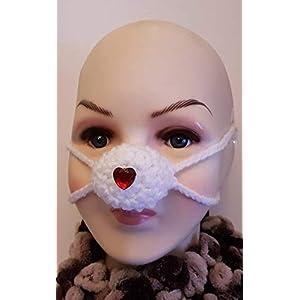 Nasenwärmer, Liebes Herz nasenmasker, Carnaval Nase nose warmer gehäkelt