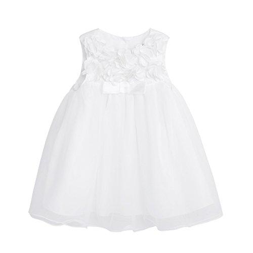 Tiaobug Baby Mädchen Prinzessin Kleider Blumenmädchenkleid Taufkleid Festlich Kleidung Hochzeit Partykleid Festzug Babybekleidung 3-24 Monate Elfenbein 9-12 Monate