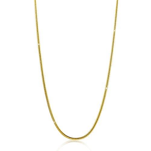 Orovi Damen Schlangenkette Halskette 14 Karat (585) GelbGold Schlange kette Goldkette 0,9mm breit 45cm lange (Gold Schlange Armband)