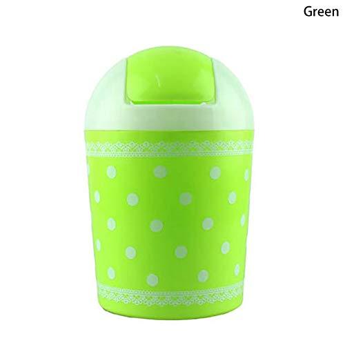 �ck Fashion Mini Mülleimer Kunststoff Desktop Mülleimer mit Spitze Polka Dot Muster Tisch-Mülleimer Touch Top Abfalleimer mit Roll-Deckel für Zuhause Küche Büro grün ()