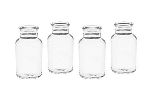 casa-vetro 10 x kleine Vasen Milk-rund 250 ml H 12,5 cm kleine Glas-vasen Deko-Flaschen Fläschchen Apotheker