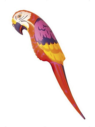 �m Accessoires Zubehör aufblasbarer Inflatable Piraten Papagei 116cm, perfekt für Karneval, Fasching und Fastnacht, Rot ()