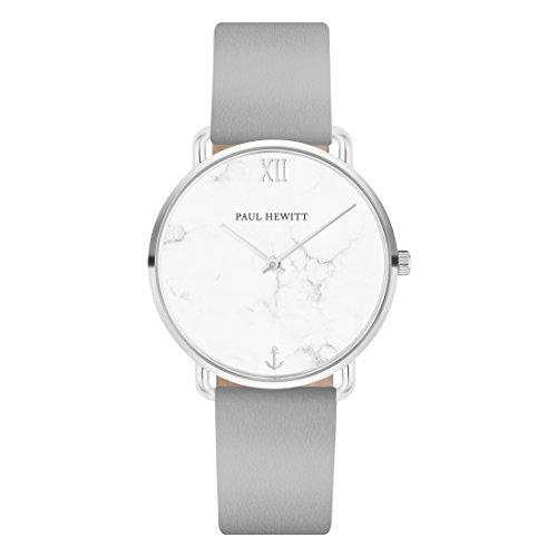 PAUL HEWITT Armbanduhr Damen Miss Ocean Marble - Edelstahl Damen Uhr (Silber), Damenuhr mit Lederarmband (Graphite), Ziffernblatt im Marmor-Style