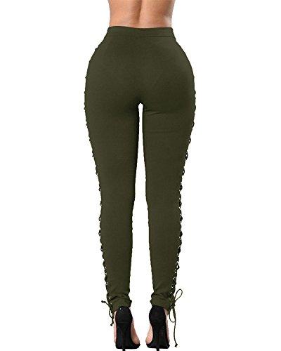 Pantalon Femmes Lace-Up Bandage Jeans Vintage Taille Haute Slim Rétro Crayon Punk Collants Armée Verte