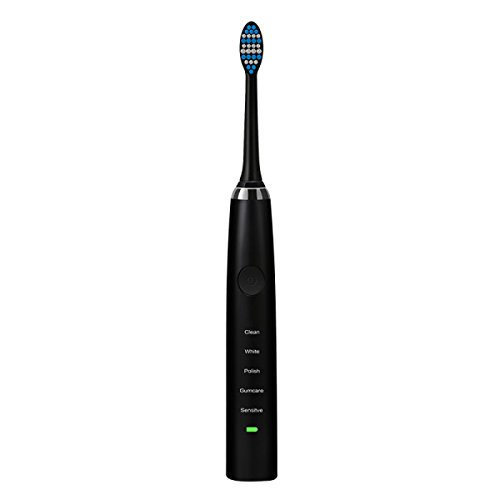 TAO Clean Whitening sonic Rechargeable Vibration Soft Hair Electric Toothbrush 6.1 * 1.2 * 1.1in,Black