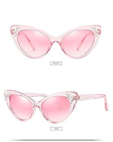 DAIYSNAFDN Männer und Frauen Cat Eye Sonnenbrillen Retro Strass Sonnenbrillen Sexy Sonnenbrillen Pink