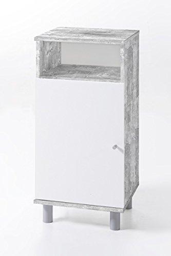 Dreams4Home Badezimmer Unterschrank \'Mio\' Badschrank Weiß Sonoma Eiche Betonoptik 35 x 79,5 x 32 cm Schrank 1 Tür 1 Fach Midischrank Kommode, Farbe:Grau