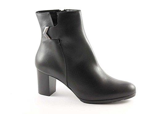 MELLUSO Z570 nero scarpe donna stivaletti tronchetti tacco zip laterale 36