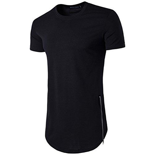 CHENGYANG Herren Lang T-shirt mit Reißverschluss Einfarbig Rundhals T-Shirt Tops Schwarz