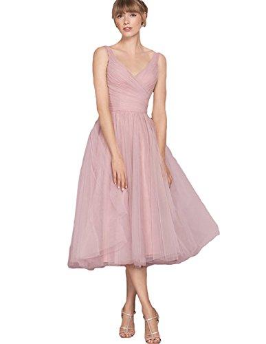 Aurora dresses Damen V-Ausschnitt Abendkleider Teelänge Partykleider Ballkleid Brautjungfer...