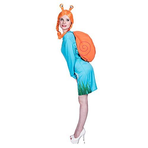 thematys Süße Schnecke 4-teilig Kostüm-Set für Damen - Haarband, Umhang, Perücke & Kleid perfekt für Halloween, Karneval & Cosplay - Einheitsgröße - Schnecke Kostüm Für Erwachsene