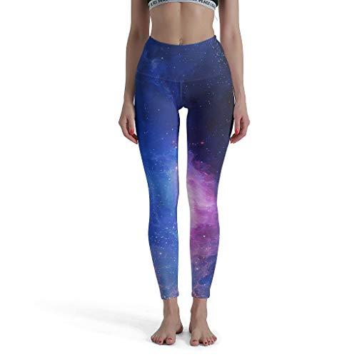 Willbacksoon Shaping Leggings da Donna Galaxy Glitter Fitnes Vita Alta Caviglia Lunga Opaca Tights 34 Sport Pantaloni Bianco M